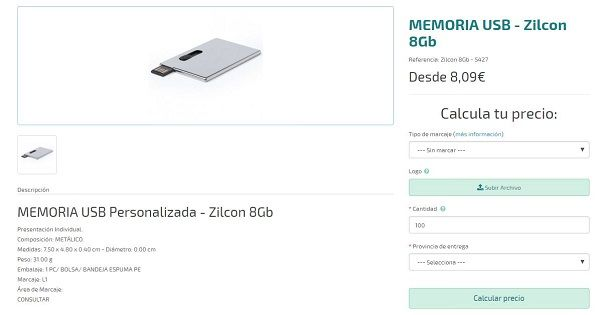 memorias usb personalizadas de 8 gigas tarjeta