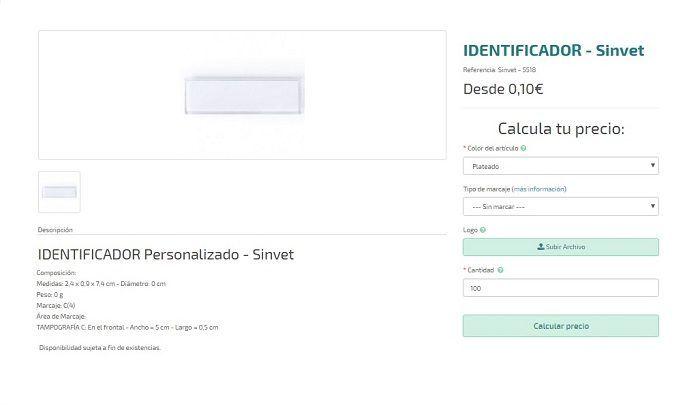 identificadores personalizados modelo Sinvet