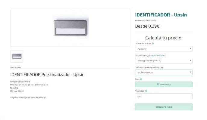 identificadores personalizados modelo Upsin