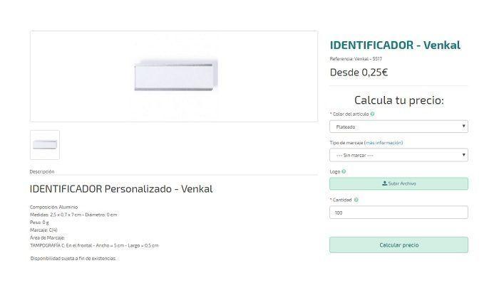 identificadores personalizados modelo Venkal